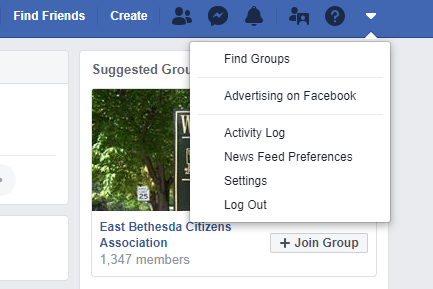 Step 1 in designating a facebook legacy contact