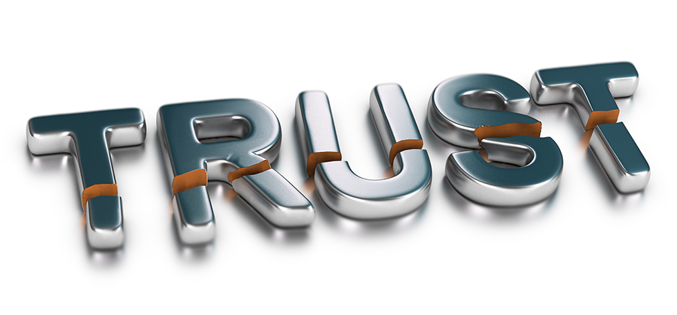 """The word """"trust"""" laid out and broken in half"""