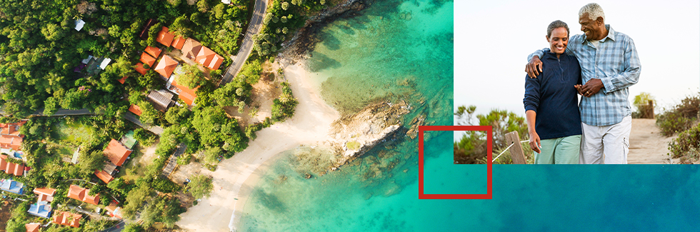 Arial shot of a beach with an overlay of an older couple walking along the beach