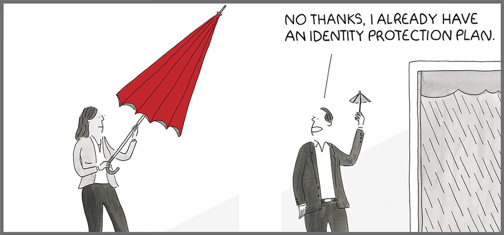 identity protection scams cartoon