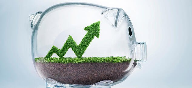 Piggy Bank with Grass Financial Arrow_GettyImages_980x450